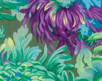 Kaffe Fassett Shaggy Aqua Flowers Phillip Jacobs Fabric 1 yard