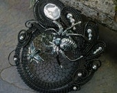 Gothic Steampunk Black and Silver Spider and the Fly Pin Pendant Brooch