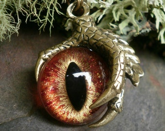 Gothic Steampunk Single Claw Pendant with Hot Flame Eye