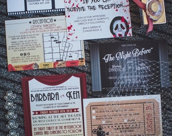 ON SALE Barbara /// Modern Movie-Themed Wedding Invitation Set  /// Deposit