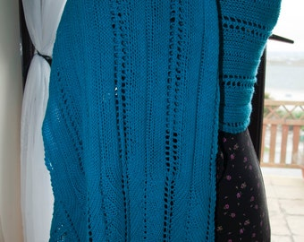 Handknitted Shawl/Wrap in Turquoise Merino Wool