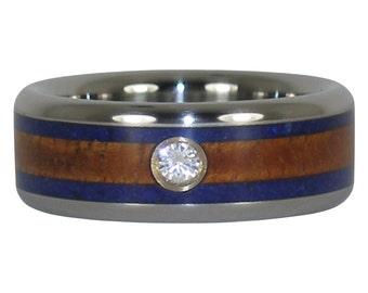 Diamond Ring with Koa Wood and Lapis