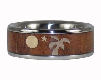 Beach Wedding Titanium Ring with an Oasis Custom Design