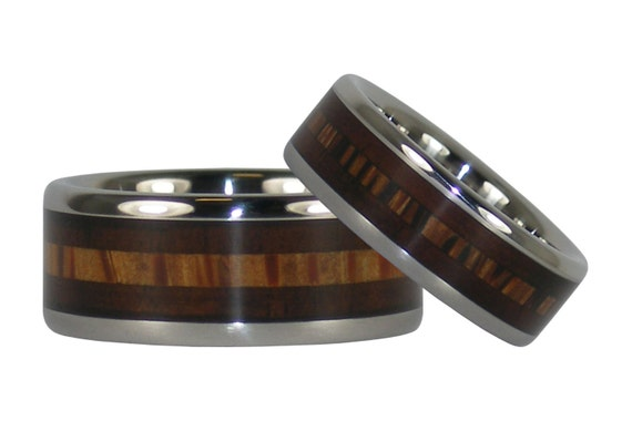 Milo and Palm Wood Inlay Titanium Ring Set