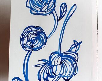 Original Watercolor artwork Inky Blue Rose