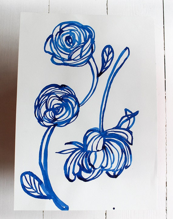 Original Watercolor artwork Inky Blue Rose watercolour original