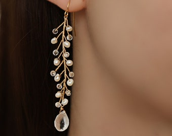 Freshwater Pearl and Crystal Delicate Bridal Earrings by Virginia Geiger Jewels