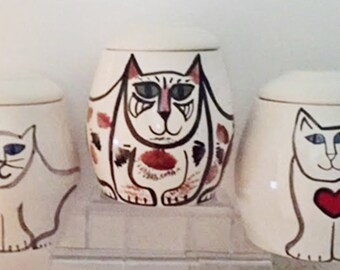 Cat Cookie Jar White Black red heart treat jar kitty lover theme hand painted pet  decor gift earthenware lidded vessel