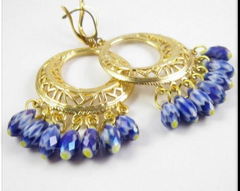 Chandelier Beaded Gold Filigree Hoop Earrings Royal Blue Czech Glass Dangle Briolette Beadwork