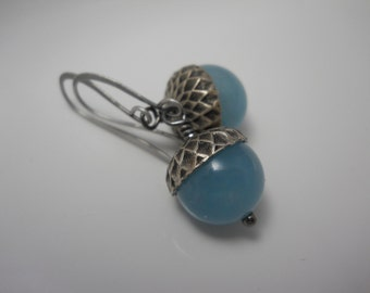 Chalcedony Gemstone  Acorn Beads with Sterling Silver Caps on Silver Elongated French Hook Ear Wires Jewelry Blue Gem Beads