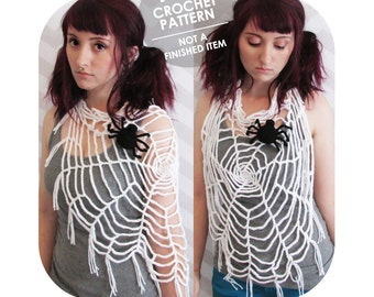 crochet pattern - halloween spider web - wearable spider web - halloween costume - shawl with fringe - crochet spider web - spoopy halloween