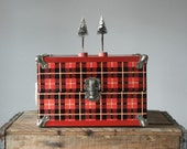 Vintage Doll Trunk, 1950's Plaid Metal Trunk, Children's Toys, Home Decor, Christmas Gift, Gifts For Her, Gifts For Kids