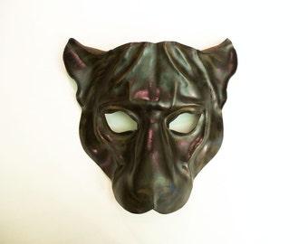 READY TO SHIP Black Jaguar Leather Mask cat Black Panther Black Leopard
