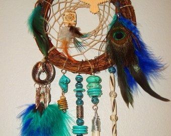Native American Chippewa Dream Catcher, Turquoise, Feathers, Crystal, Buffalo Tooth, Camel Bone, Eagle, Cowrie Shell, Holiday Gift Teenager