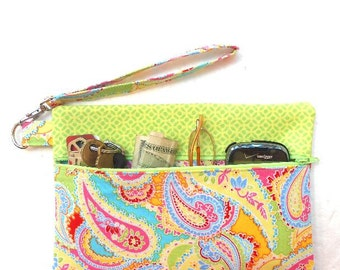 Lime Green Paisley Wristlet, Fabric Front Zippered Wallet, Pouch to Hold Cell Phone, Makeup and Camera, Ladies Fabric Small Front Zip Purse