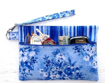 Blue Floral Wristlet, White Striped Clutch, Makeup or Phone Holder, Camera or Gadget Bag, Front Zippered Wallet, Small Purse