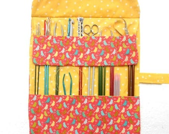 Bird Print Knitting Needle Roll Up, Crochet Hook Case, Double Pointed Needle DPN Storage Organizer, Artist or Makeup Brushes Holder, Coral
