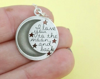 I love You to the Moon and Back Necklace - Mom Gift - Mother Daughter Necklace - Wife Gift - Stars Necklace - Inspirational Jewelry