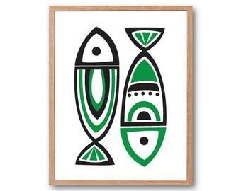 Fish Art Print, Kitchen decor, Fish Print, Fish Illustration, Animal Print, Children's Book Art
