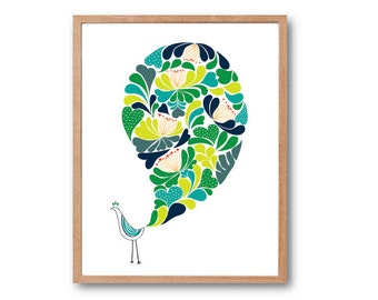 Girl room decorations, Nursery Print, Floral Peacock Art Print  (AUTUMN), Bird Art Print, Peacock Illustration, Peacock Decor, Floral Print