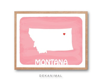 MONTANA Map - Soft Pink - State map, Illustration, silhouette art, Personalized Wedding Gift, Custom map, Watercolor, Typography, Drawing