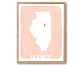 ILLINOIS MAP - Peach - Personalized Custom Color Watercolor Style Love State Map Wedding Birthday Anniversary GIft Children Kids poster