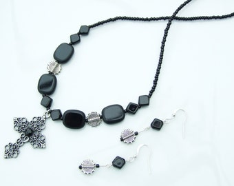Black Jewellery SET - Silver & Black Filigree Crucifix Pendant Necklace and Earrings
