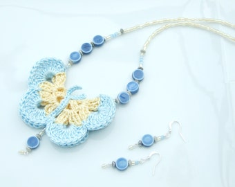 NEW IN - Blue and Lemon Crochet Butterfly Pendant Necklace & Earrings SET
