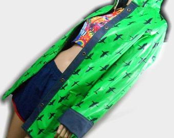 Vtg 80s Seagull Surfer Beach Bird Rave Club Kid Seapunk Sailor Nautical Boho Hippie Print Hooded Reversible Kawaii Rain Coat Slicker Jacket