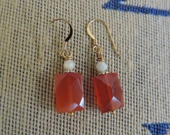 Carnelian and Cream Crystal Earrings Simple and Elegant