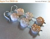 30% OFF Clearance, Druzy Earrings, Drusy Earrings, Triple Peach Champagne Druzy Dangle Earrings, Peach earrings