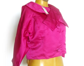 1960s Adorable Bright Pink Silk Boloro Jacket with Tie Collar / Jackie-O Style Cropped Jacket Unworn Condition