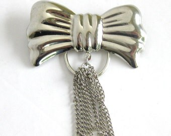 Scarf Jewelry Slides / Silver Bow Scarf Slide with Chain