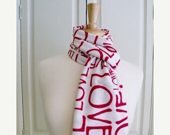 SALE Valentines Day Red White LOVE Infinity Circle Scarf Cotton Jersey Knit Valentine's Day Gift