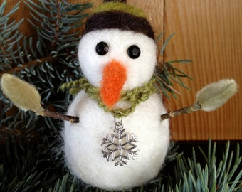 Snowman, needle felted, handmade, gift, magnolia arms, #3