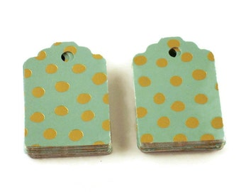 50 Funky Tags  Paper Gift Tags Price Tags in Mint Gold Dot