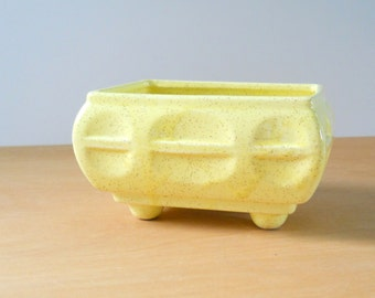Vintage Yellow Speckled Planter • Modern Footed CP USA Planter • Vintage American Pottery