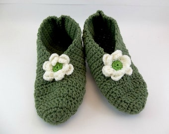 Crochet Slippers for Women Stretchy One Size Sage Green  with Natural Green Centered  Flower
