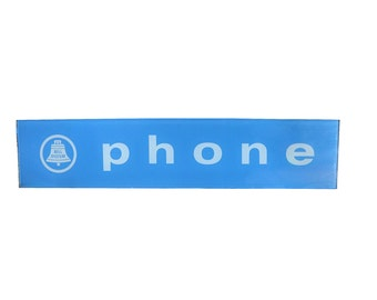 Retro Glass Telephone Sign   Vintage Phone Booth   Old Industrial Signage
