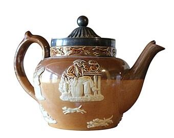1800s Doulton Lambeth Teapot, Antique English Pottery, Salt Glazed