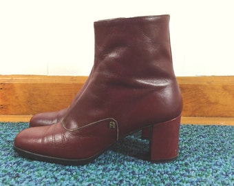 Vintage 1970s Atienne Eigner Heeled Ankle Boots / Sz 9