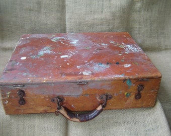 Vintage Artist Carry Case Wood Paint Box Art Supplies Case 1950s