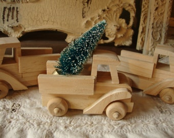 Mini wood truck pick up unfinished wood truck Christmas mason jar decorations kids craft supplies wood shapes DIY Christmas table figurines