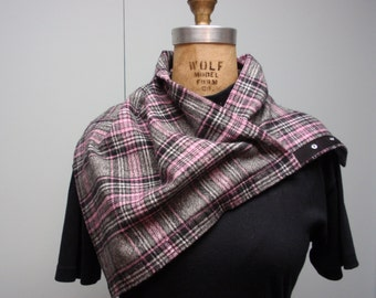Flannel Neck Cowl with Snap Closure Plaid Gray, Pink, and Black