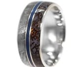 Meteorite Wedding Band for Him or Her, Dinosaur Bone Ring With A Blue Enamel Stripe, Mens Titanium Ring