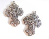Pair of Antique Silver-tone Spanish Western Style Cross Charms with Rhinestone Accents