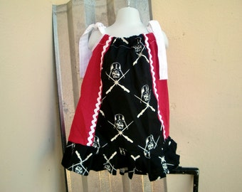 Red, White and  Black Pillowcase Dress - May the Force be with you.