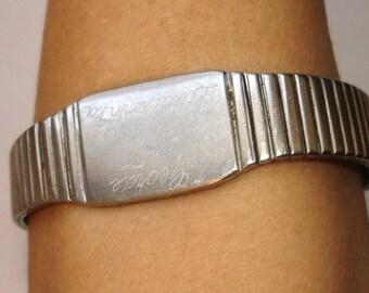 UNISEX vintage inscribed silver bracelet