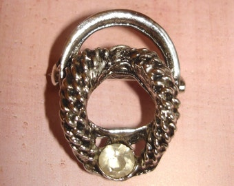 vinatage snaky silver coil faux diamond brooch