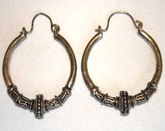 vintage ethnic silver hoops pierced earrings